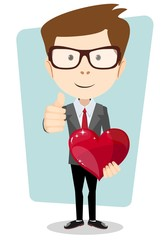 Student in costume gives his beloved heart, vector illustration