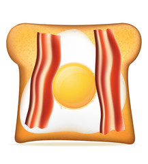 toast with bacon and egg vector illustration