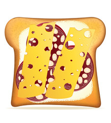 buttered toast sausage and cheese vector illustration