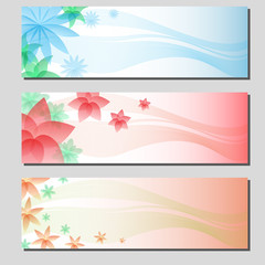 three types of floral colorful banner cards eps10