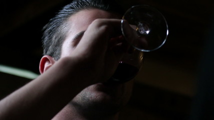 HD1080p: Young director drinking wine