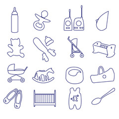 equipment for baby outline icons set ps10