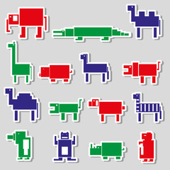 color square digital simple retro animals stickers eps10