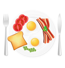 fried eggs with toast bacon and vegetables on a plate vector ill