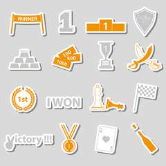 flawless victory symbols set of color stickers eps10