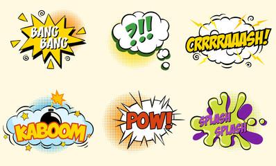 Comic speech bubbles in pop art style with bomb cartoon