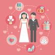 Wedding infographic set with Cartoon Bride and groom.Wedding day - 77460508