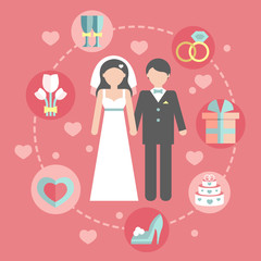 Wedding infographic set with Cartoon Bride and groom.Wedding day