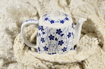 Teapot and wool fabric