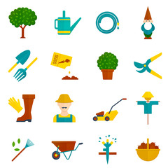 Vegetable garden flat icons set
