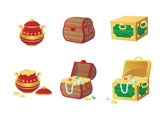 vector illustration of treasure chest full of gold coins and