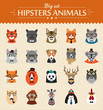 Cute fashion Hipster Animals  of vector icons - 77461540