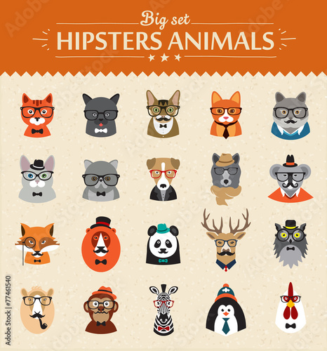 Fotobehang Hipster Hert Cute fashion Hipster Animals of vector icons