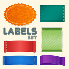 Collection of Five Colorful Blank Labels or Badges with