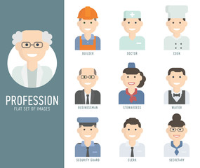 Different people professions characters set flat