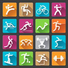 Sport icons long shadows