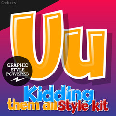 Colorful and cheerful cartoon font for children. Letter U
