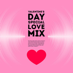 Valentine's Day card with vinyl tracks and heart