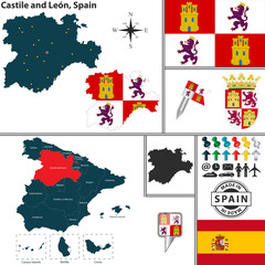 Map of Castile and Leon, Spain