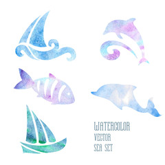 Watercolor stylized sea set on a white background