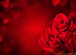 canvas print picture - Red roses bouquet