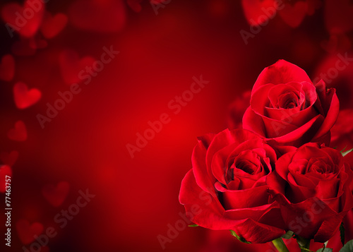 canvas print picture Red roses bouquet
