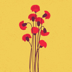 Red carnation in flat style