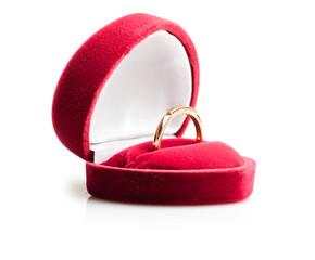 diamond ring in a velvet red box