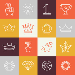 Vector winner awards and victory signs