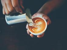 """Постер, картина, фотообои """"cup of coffee latte art in coffee shop"""""""