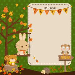 autumn woodland animal vector card
