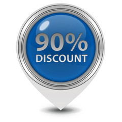 Discount ninety percent pointer icon on white background