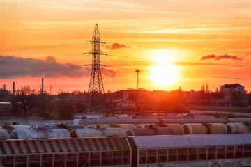 Sunset over the railway