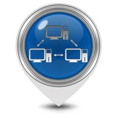 Database pointer icon on white background
