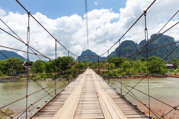 Wooden bridge over Nam Song river, Vang Vieng
