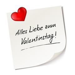 Haftnotiz mit Herzchen - Alles Liebe zum Valentinstag