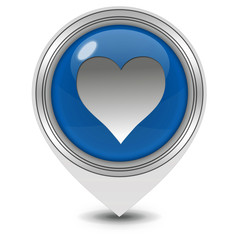 Heart pointer icon on white background