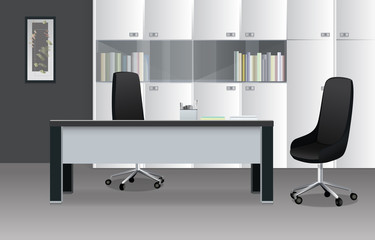 Modern Office Room in Shades of Gray