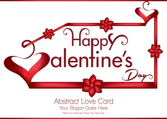 happpy valentine's day greeting card with ribbon