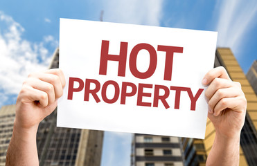 Hot Property card with a urban background