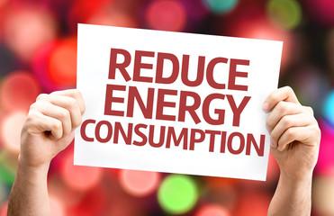 Reduce Energy Consumption card with colorful background