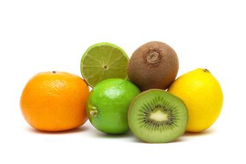 kiwi, lime, lemon and tangerine isolated on white background