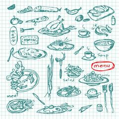 Meal sketch set.Restaurant menu collection.