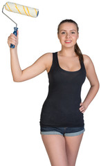 Woman holding paint roller