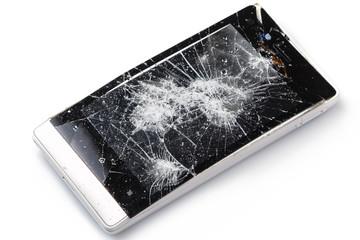 Damaged display on smartphone