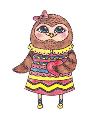 cute owl with heart, vector watercolor character.