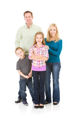 Family: Front View of Cute Family Standing Together
