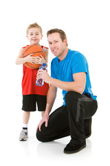 Family: Father and Son Ready to Play Basketball