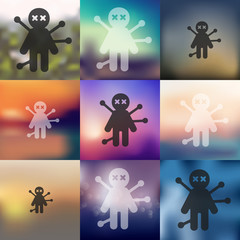 voodoo Doll icon on blurred background