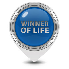 Winner of life pointer icon on white background
